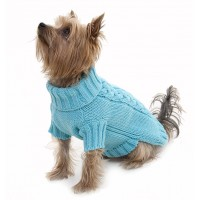 Turquoise Cable Dog Jumper